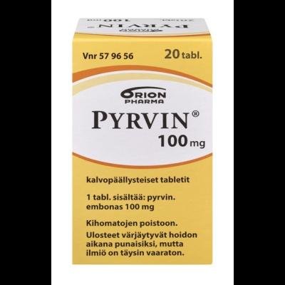 PYRVIN 100 mg tabl, kalvopääll 20 kpl