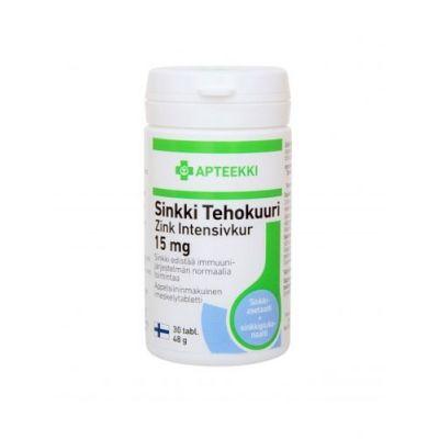 Apteekki Sinkki Tehokuuri 15 mg 30 tabl
