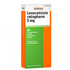 LEVOCETIRIZIN RATIOPHARM 5 mg tabl, kalvopääll 30 fol